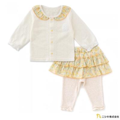 Nishiki 日本株式會社 米白針織碎花套裝2件組
