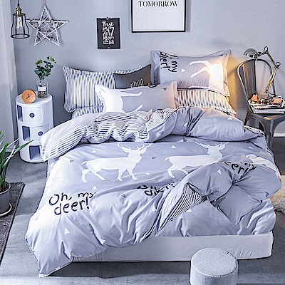 Ania Casa約定麋鹿 加大三件式 柔絲絨美肌磨毛 台灣製 加大床包枕套三件組