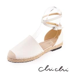 Chichi 繞踝扣環草編平底鞋*白色