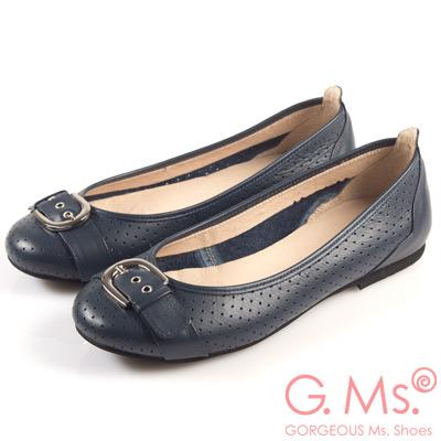 G.Ms. MIT系列-牛皮柔軟洞洞皮帶釦娃娃鞋-優雅藍