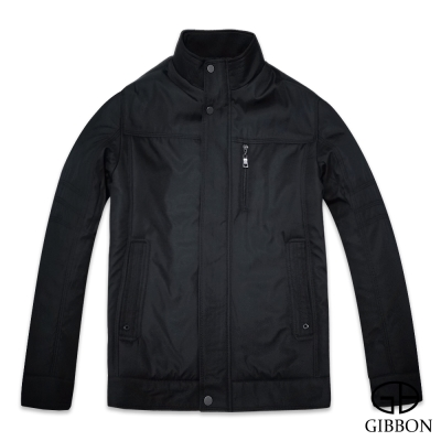 GIBBON 保暖外套歐式簡約橫紋‧黑色