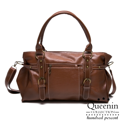 DF Queenin日韓 - 日系復古雙皮飾仿皮手提斜背2way包