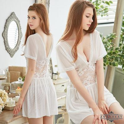 大尺碼Annabery復古純白柔紗短袖二件式性感睡衣 白 L-2L Annabery