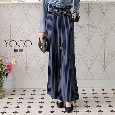 東京著衣-yoco 都會時髦條紋荷葉腰帶寬褲-S.M.L(共二色)