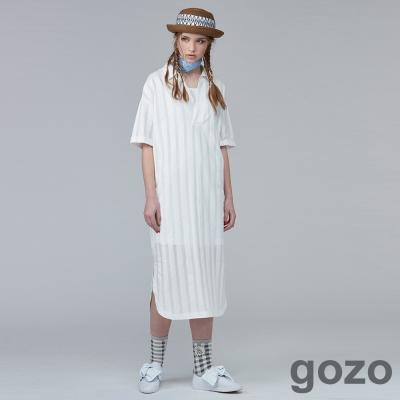 gozo空氣感條紋襯衫洋裝 (二色)