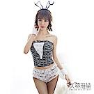 角色扮演服 白色蕾絲兔女郎馬甲短褲套裝 久慕雅黛