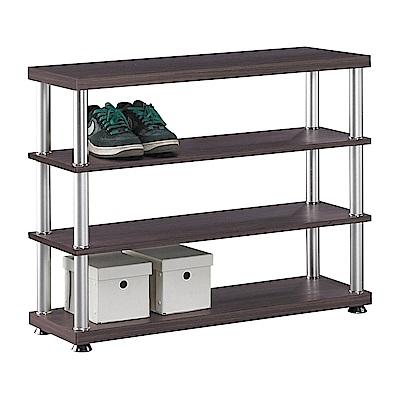 H&D 胡桃色3尺四層鞋架 (寬90X深30X高73cm)