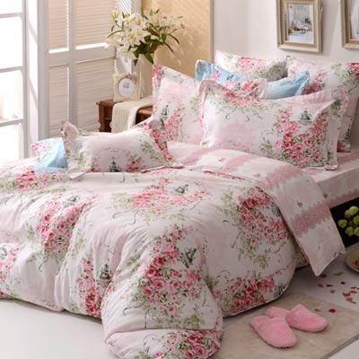 義大利La Belle 薔薇戀曲-粉 雙人四件式防蹣抗菌舖棉兩用被床包組