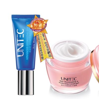 UNITEC彤妍燕窩素玻尿酸保濕精華液+瓷花光燦美肌水凝霜