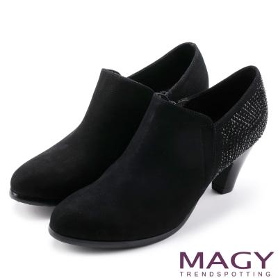 MAGY 紐約時尚步調 高質感燙鑽牛皮高跟鞋-黑色