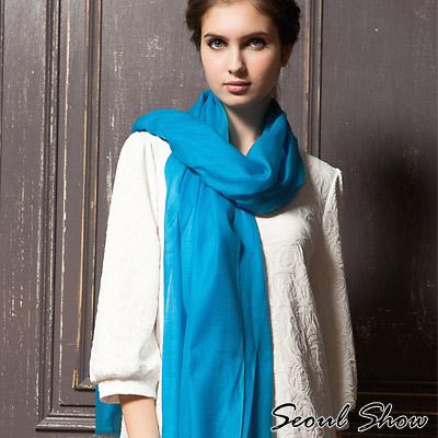 Seoul Show 200支水溶100%純羊毛高級圍巾披肩11色 海藍色