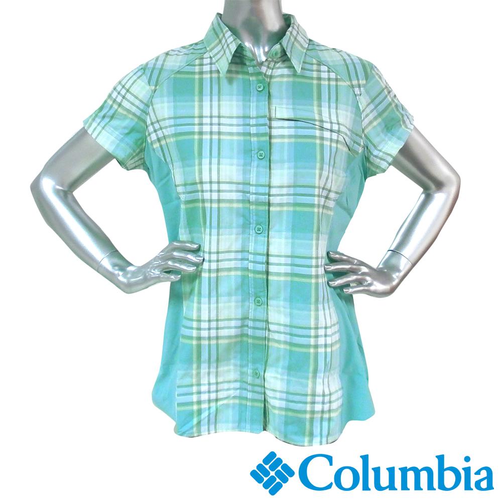 【Columbia哥倫比亞】女-快排防曬30短袖襯衫-綠色 UAK18230GR