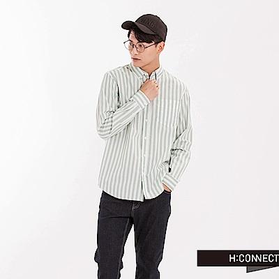 H:CONNECT 韓國品牌 男裝 - 直條紋亞麻襯衫-綠