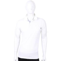 TRUSSARDI 白色條紋細節口袋短袖POLO衫