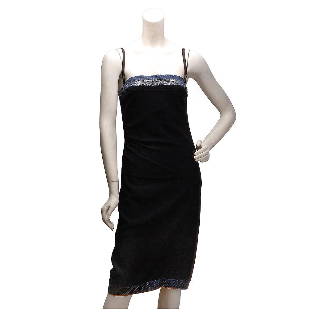 BALENCIAGA 高雅緞面點點飾邊素面細肩帶小禮服(黑-36)