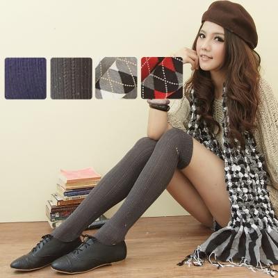 I-shi 日系甜美.百搭膝上襪4件組(金蔥灰+紅黑格+羅紋藍+灰黑格)