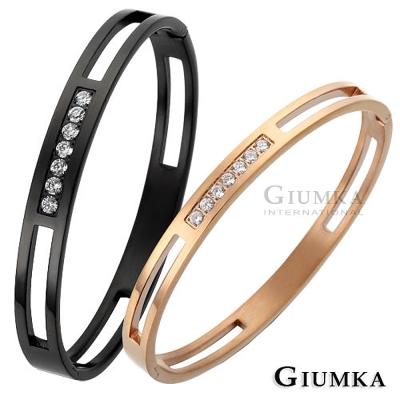 GIUMKA 耀眼戀曲 白鋼情人手環-黑玫
