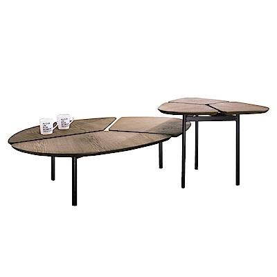 品家居 尼洛4尺胡桃木紋茶几組合-179x80x50cm免組