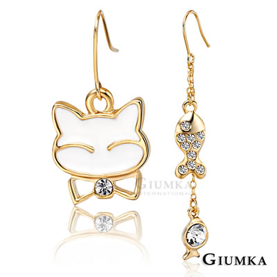 GIUMKA耳環 白貓與魚不對稱耳勾耳環(金色)
