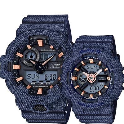 CASIO卡西歐 限量丹寧情侶對錶-深藍/55+46.3mm