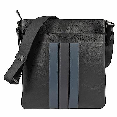 COACH條紋烙印LOGO牛皮斜背包(黑/藍)