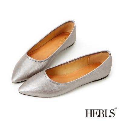 HERLS-極簡迷人 銀河星空尖頭平底鞋-星空灰