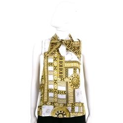 VERSACE 大理石紋印花幾何圖騰無袖緞面上衣