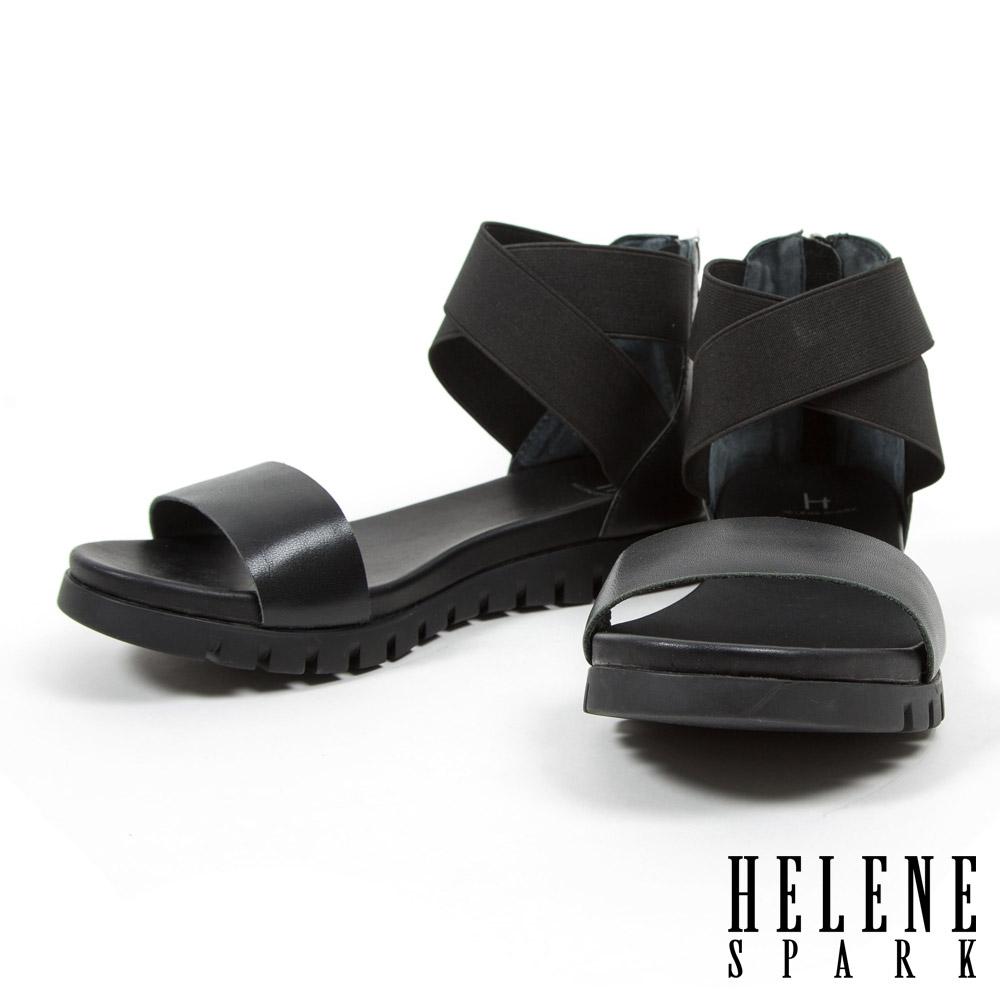 涼鞋 HELENE SPARK  搖滾羅馬式鬆緊帶牛皮厚底涼鞋-黑
