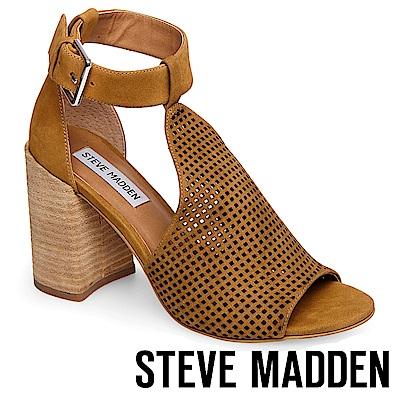 STEVE MADDEN-SAWYER 洞洞真皮繞踝粗高跟涼鞋-棕色