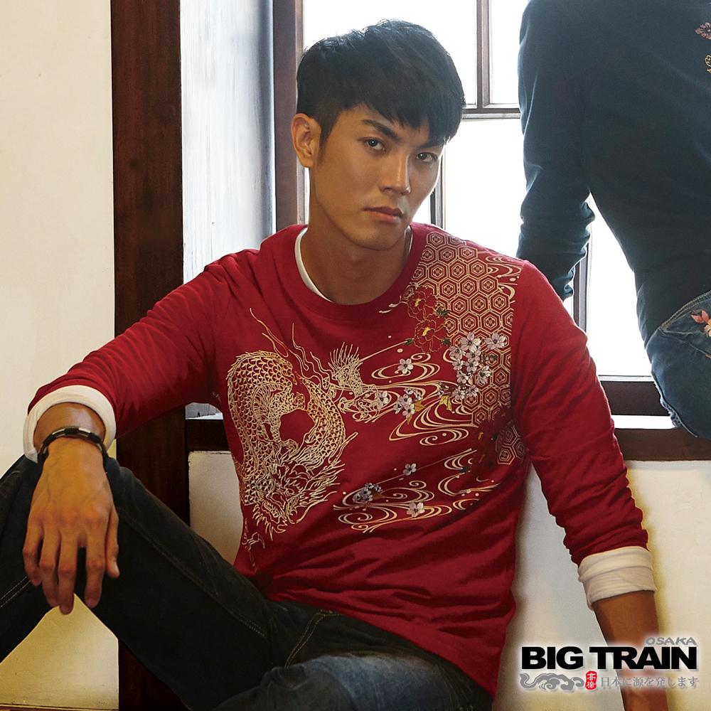 BIG TRAIN 和風舞雲龍羅紋束口長袖T-男-紅色