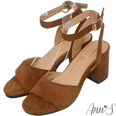 Ann'S氣質出眾-一字帶繫踝縷空粗跟涼鞋-咖