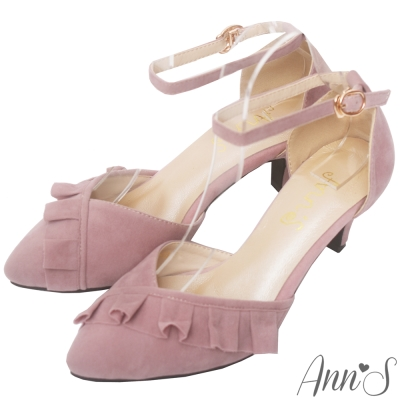 Ann'S夢幻甜心-荷葉滾邊V口繫帶低跟尖頭跟鞋-粉