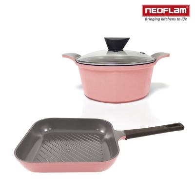 韓國NEOFLAM 粉紅雙鍋組- 陶瓷不沾湯鍋24cm+陶瓷不沾方型煎鍋28cm