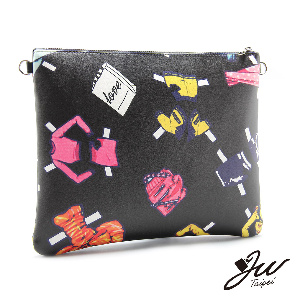 JW 鏈帶包 製衣產業隨性塗鴨手拿側肩包 共二色