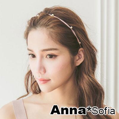 AnnaSofia-雙珠釘墬兩用細款-彈性髮帶髮圈髮束-粉系