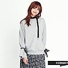 H:CONNECT 韓國品牌 女裝 - 寬袖綁絲帶大學T - 灰色