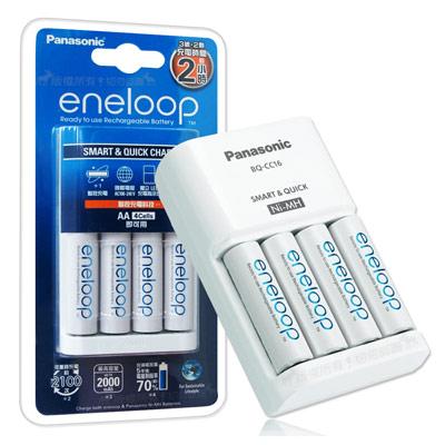 Panasonic eneloop 低自放電池充電組(BQ-CC16充電器+3號4顆)