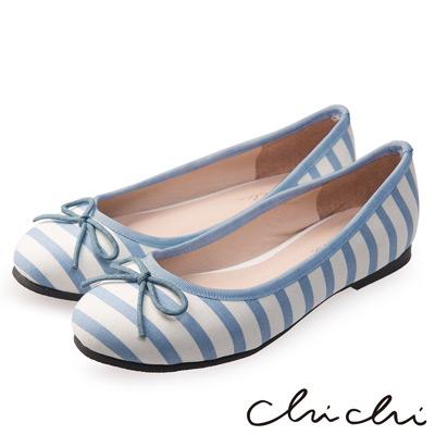 Chichi 春日物語 可愛蝴蝶結條紋娃娃鞋*淺藍
