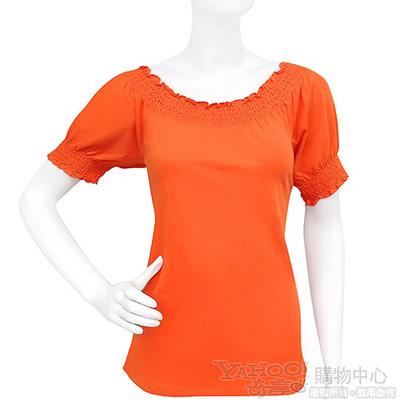 RALPH LAUREN 橘色抓皺公主袖純棉上衣【S號】