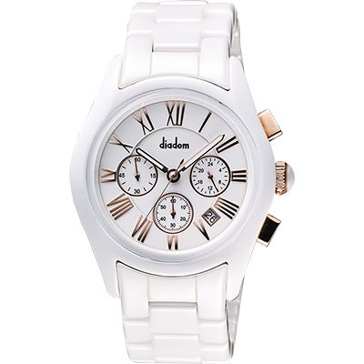 Diadem 黛亞登羅馬三眼計時陶瓷腕錶-白x玫塊金時標/44mm