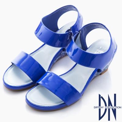 DN 歐美時尚 單色露趾漆皮楔型涼鞋-藍