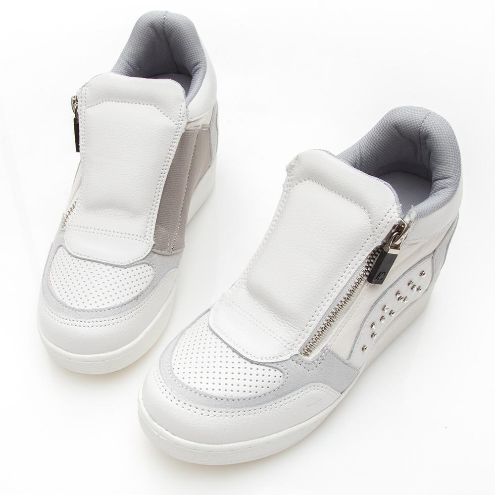 Camille's 韓國空運-正韓製-撞色繃帶牛皮水鑽內增高休閒鞋-白色