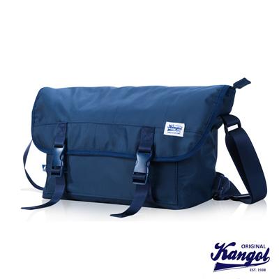 KANGOL 英式時尚輕時尚休閒大空間郵差包防潑水尼龍 斜側包-藍