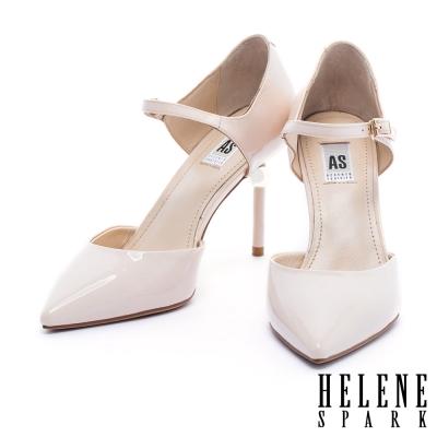高跟鞋 HELENE SPARK 全真皮金屬球鞋跟繫帶尖頭高跟鞋-粉