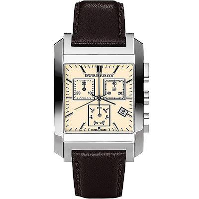 BURBERRY 英倫格紋計時腕錶-米黃色