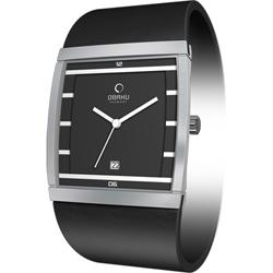 OBAKU 方型視覺時尚腕錶-黑/35mm