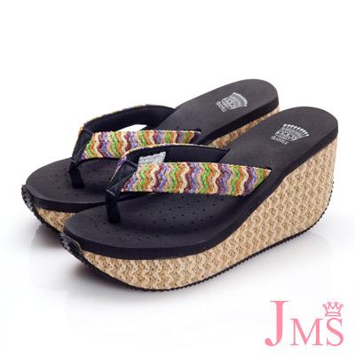 JMS-超舒適彩色編織帶夾腳海灘鞋(高跟款)-黑色