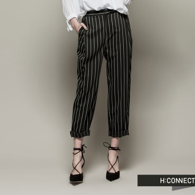 H-CONNECT-韓國品牌-女裝-復古條紋修身長褲-黑-快