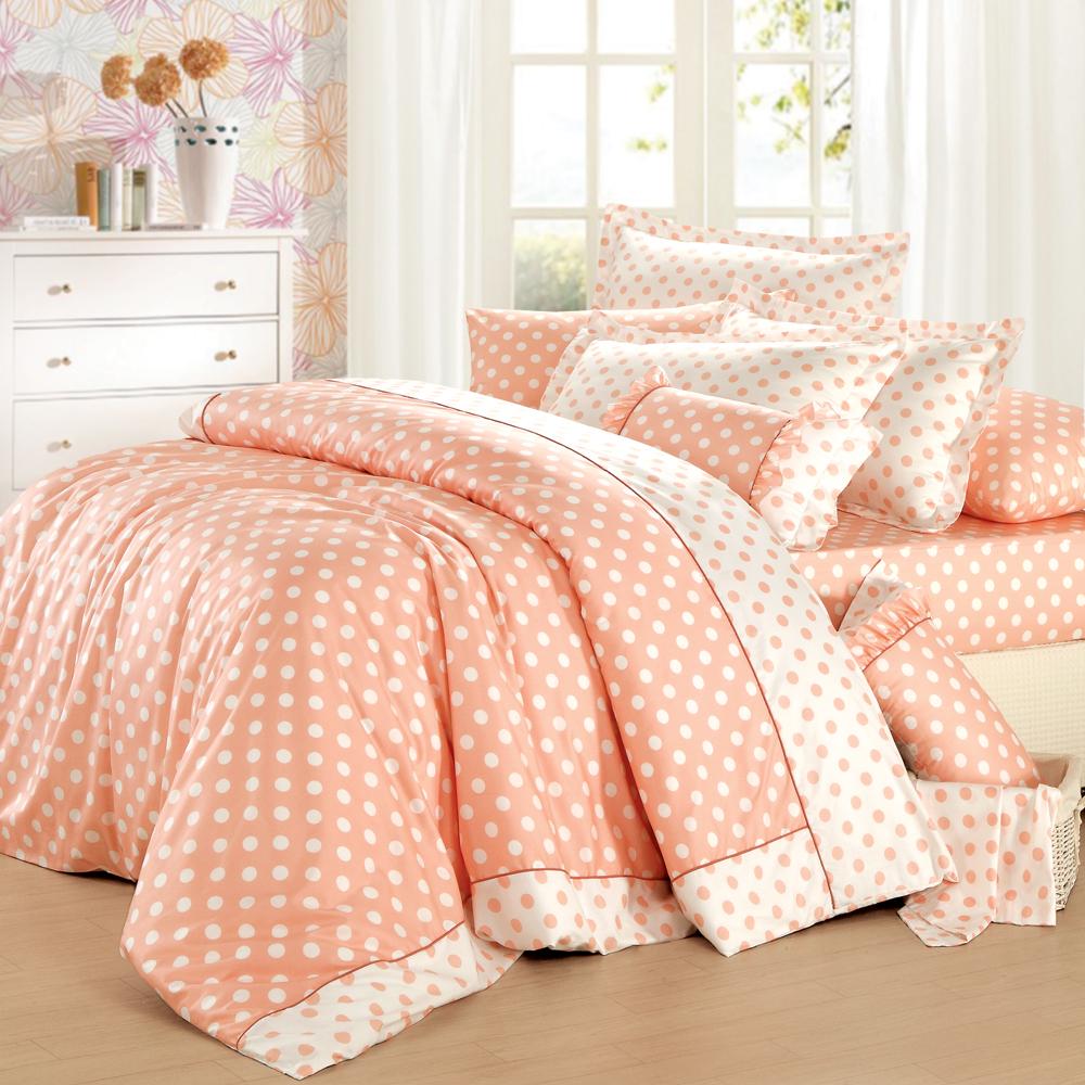 法國MONTAGUT - 甜蜜馬卡龍(橘) - 雙人四件式薄被套床包組