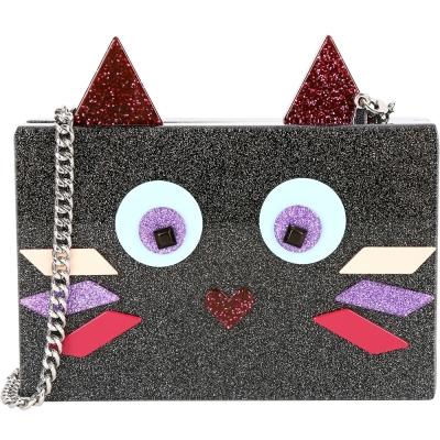 KARL LAGERFELD CHOUPETTE 幾何拼接貓造型硬殼鍊帶包(黑色)